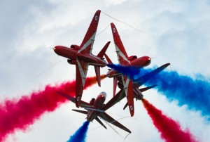 Aerobatic red arrows