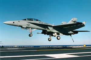 F-18 aircraft carrier landing