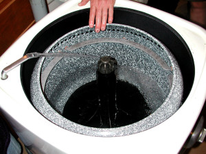 Inside the Thor electric clothes washer